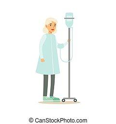 dama, atención sanitaria, cuentagotas, ambulante, pasillo, viejo, hospital, ilustración