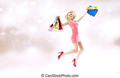 dama, bolsas, saltar, compras, encantado