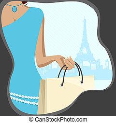 dama, bolso de compras