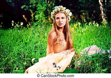 dama, bosque