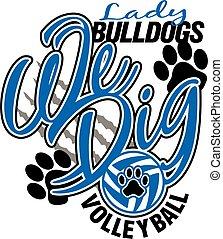 dama, bulldogs, voleibol