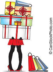 dama, cajas, posición, regalo
