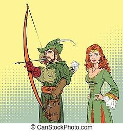 dama, capucha, dress., robin, medieval, target., legends., apuntar, héroes