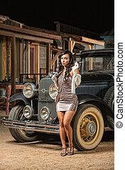 dama, coche, viejo, bastante, Fumar