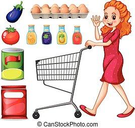 dama, compras de la tienda de comestibles