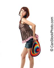 dama, con, colorido, sombrero