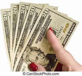 dama, dwadzieścia, dzioby, dolar, dzierżawa