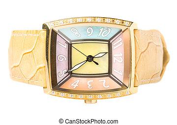 dama, elegante, reloj de pulsera, aislado