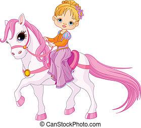 dama, en, caballo