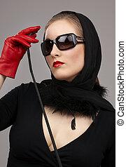 dama, en, rojo, guantes, con, cosecha