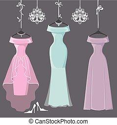 dama honra, três, enforcar, longo, fitas, vestidos