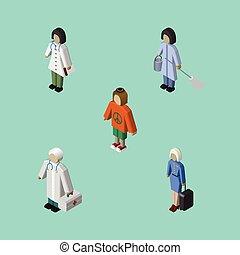 dama, isometric, komplet, elements., gosposia, gospodyni, medyczny, zawiera, również, wektor, pokojówka, ludzki, objects., dama, inny