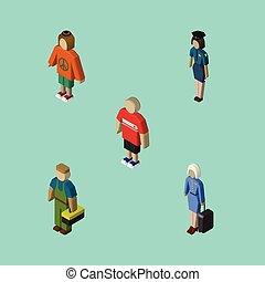 dama, isometric, komplet, elements., osoba, instalator, zawiera, policjantka, również, wektor, objects., człowiek, inny, stewardessa
