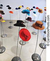 dama, kapelusz, fason