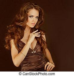 dama, kobieta, kędzierzawy, jedwabisty, strój, włosy, elegancki, fason, brunetka, błyszczący, czuciowy