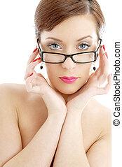 dama, lentes, negro, topless, plástico