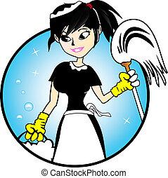 dama, -, limpieza, ilustración
