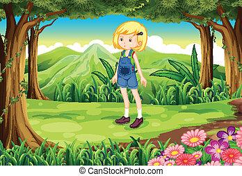 dama, młody, las