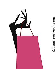 dama, mano, bolso de compras
