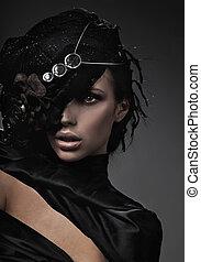 dama, moda, arte, multa, foto