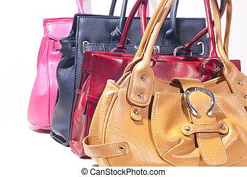 dama, moda, bolsa