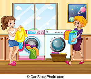 dama, myć, młody, odzież