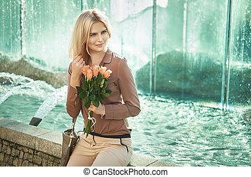 dama, następny, fontanna, blond, posiedzenie