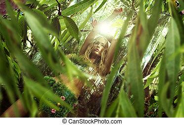 dama, naturaleza, el gozar, el, salida del sol, en, selva
