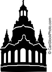 dama, nuestro, frauenkirche, silueta, iglesia