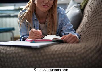 dama, pisanie, błękitny, piękny, notatnik, koszula, młody