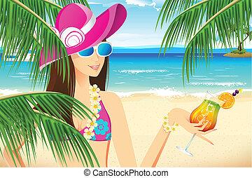dama, plaża
