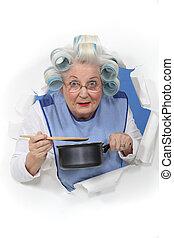 dama, salsa, anciano, movimiento, cacerola