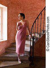 dama, schody, gatsby