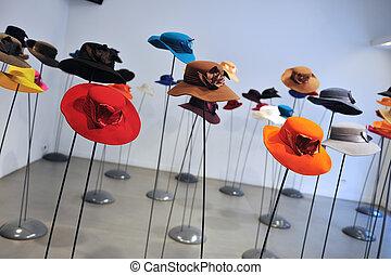 dama, sombrero, moda