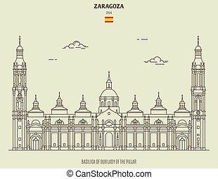 dama, spain., zaragoza, señal, basílica, pilar, icono, ...