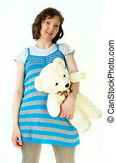 dama,  teddybear, embarazada