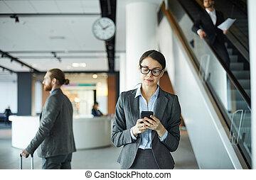 dama, telefon, dyrektor, texting, pociągający