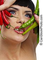 dama, tenencia, caliente, pimientos de chile