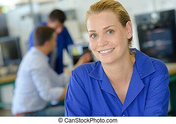 dama, trabajador, sonriente