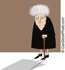 dama, viejo, malhumorado, bastón