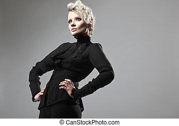 dama, w, czarnoskóry, przedstawianie
