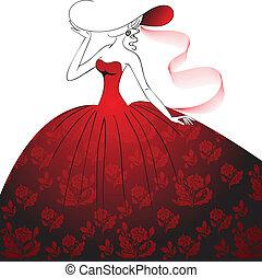 dama, w, czerwony strój, i, kapelusz