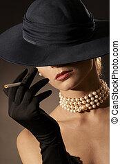 dama, y, cigarrillo