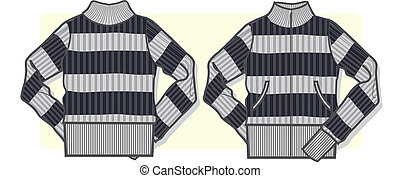dama, zip-up, suéter