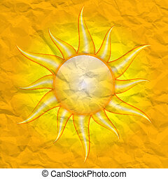 vector crumpled background with sun - Damage by the sun -...