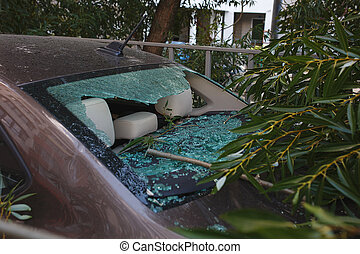 Damage close up and broken glass. Large diver fell on the car during a hurricane