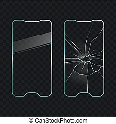 Damaged and new cellphone screen glass vector
