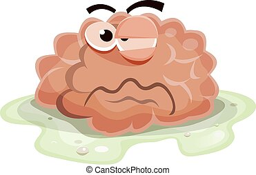 Damaged Brain Character - Illustration of a funny cartoon...