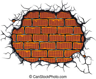 Damaged brickwall in cartoon style for design