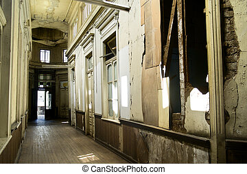 Damaged building by earthquake - Interior of a building in...